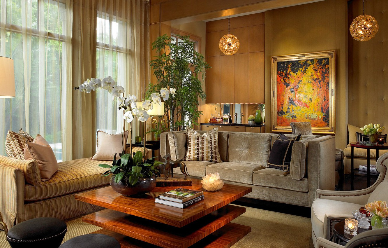 Фото обои цветы, комната, интерьер, гостиная, уютно, теплые тона, luxury mid-century modern interior, warmth feature