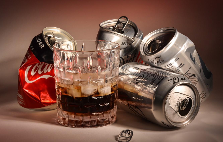 Фото обои стакан, банки, coca cola