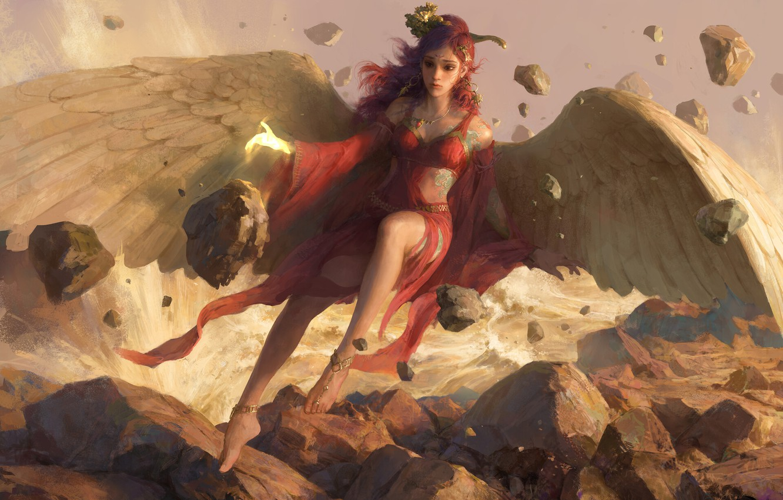 Фото обои девушка, камни, крылья, ангел, фэнтези, арт
