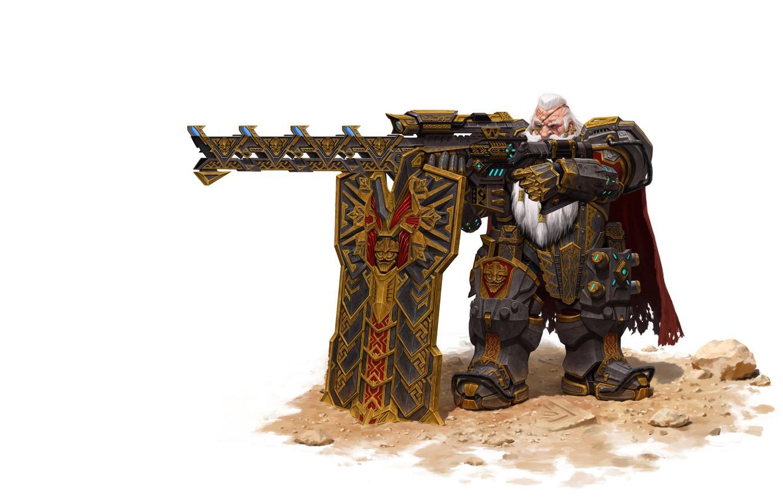 Фото обои оружие, воин, фэнтези, арт, гном, Maxi Hoy, dwarf sniper, механник