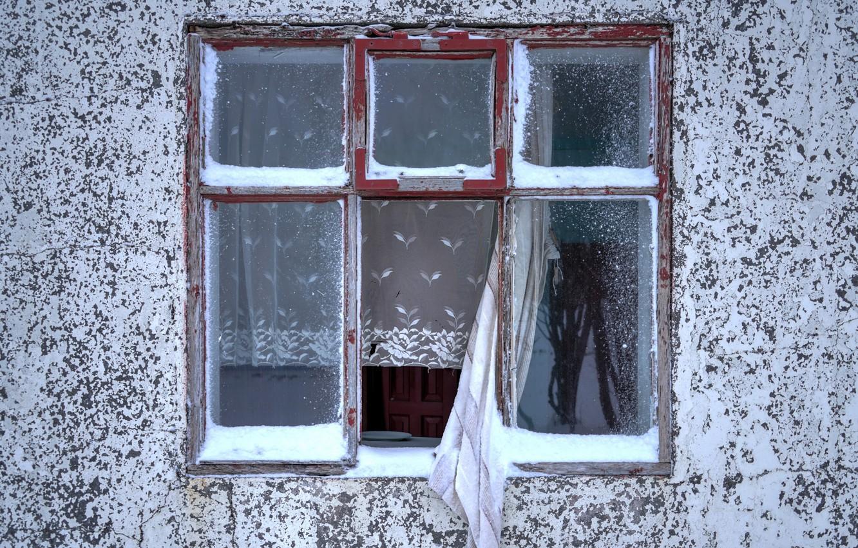Фото обои дом, стена, окно, занавески