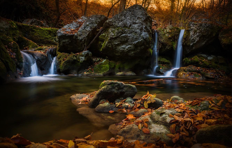 Фото обои осень, лес, листья, пейзаж, природа, камни, водопад, Крым