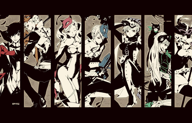 Фото обои коллаж, персонажи, Persona 5, Персона 5