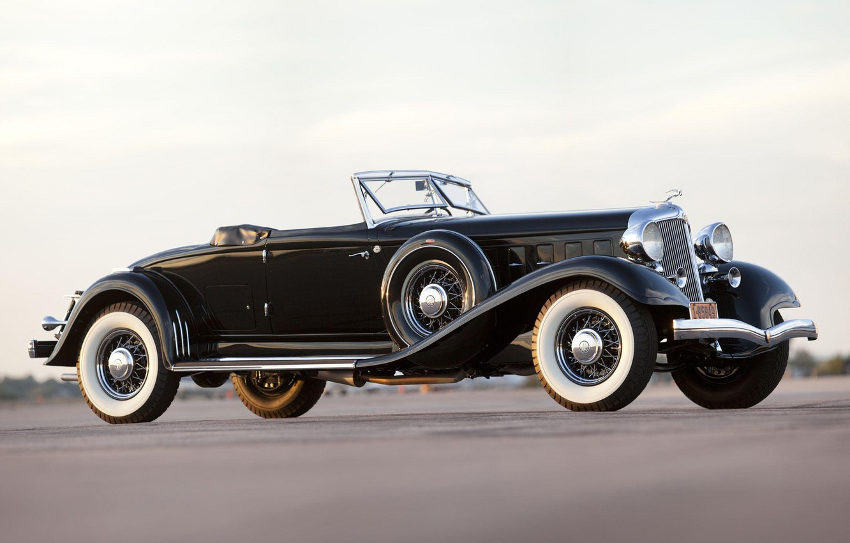 Фото обои Roadster, black, retro, Convertible, Chrysler Custom Imperial
