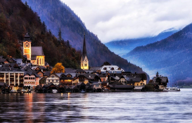 Обои австрия, гальштат, городок. Города foto 19