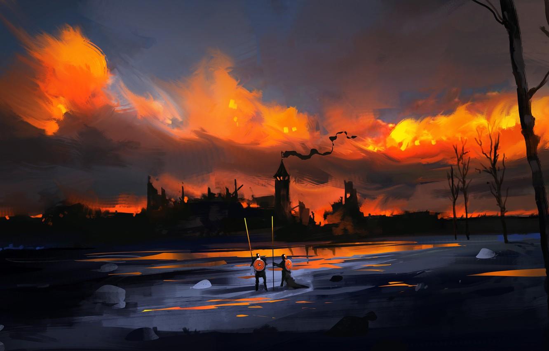Фото обои Вечер, Город, Замок, Рыцари, Fantasy, Воины, Concept Art, Dominik Mayer, Environments, by Dominik Mayer, 30 …