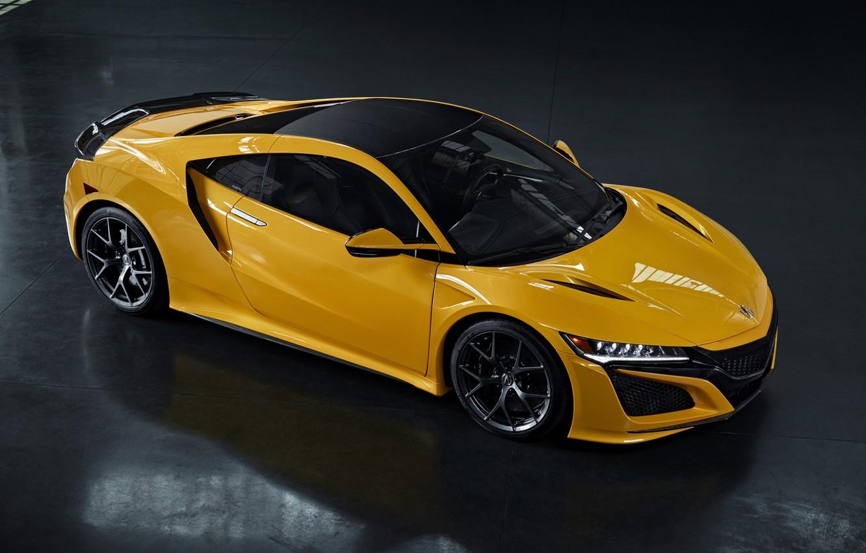 Фото обои жёлтый, купе, тень, Honda, Acura, NSX, 2020