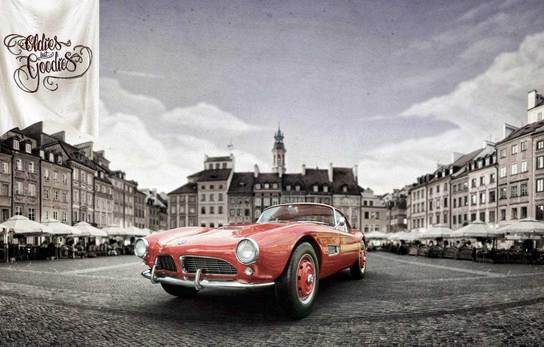 Фото обои Авто, Город, Ретро, BMW, Машина, City, Coupe, Рендеринг, Retro, 1959, Vehicles, BMW 507, Transport, Transport ...