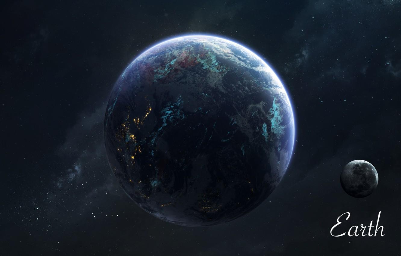 Фото обои Звезды, Луна, Планета, Космос, Земля, Moon, Арт, Stars, Space, Art, Earth, Planet, Universe, Galaxy, Система, ...