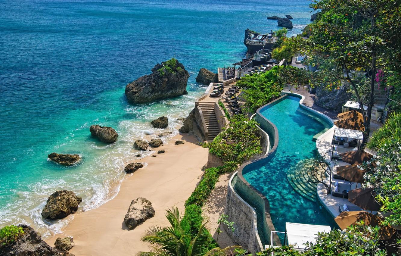 Фото обои море, камни, бассейн, Бали, Индонезия, отель