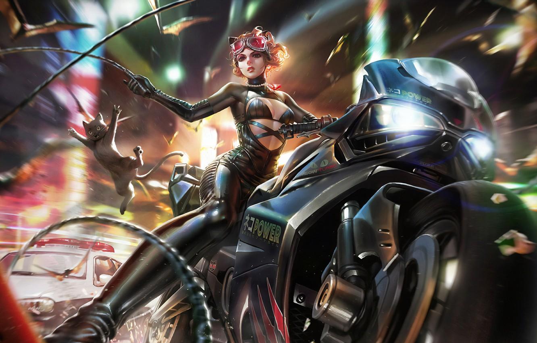 Фото обои Девушка, Очки, Костюм, Арт, Bike, Catwoman, Селина Кайл, Киса, Dc Comics, DC Universe