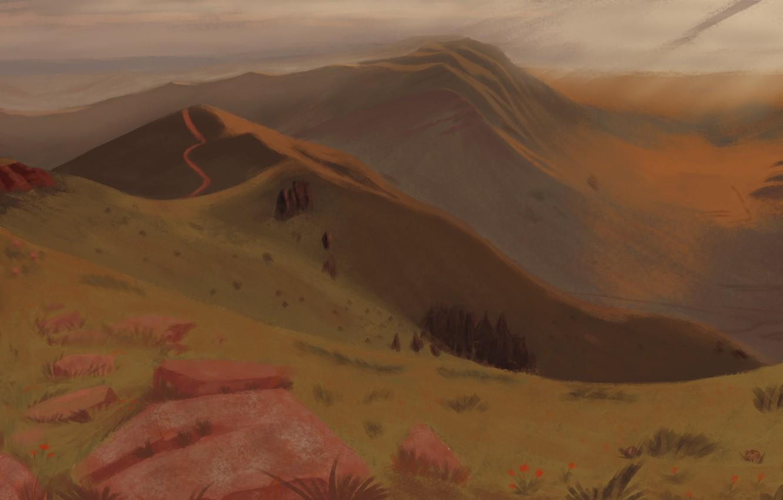 Фото обои пейзаж, горы, природа, картина, Хакасия