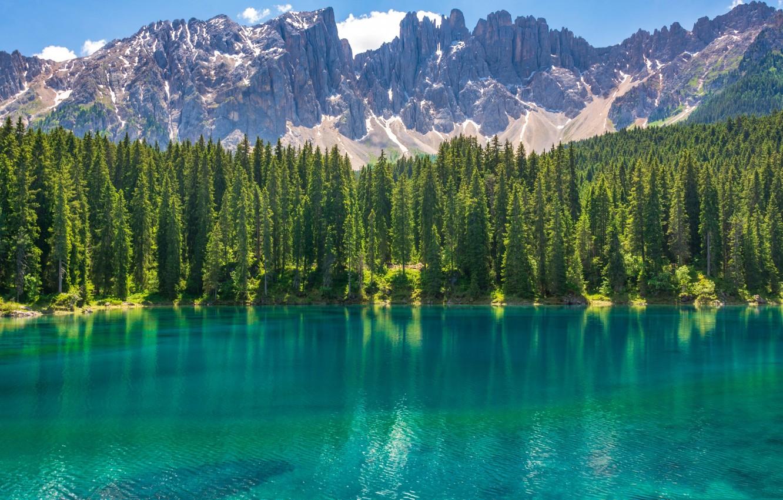 Фото обои озеро, Италия, Доломитовые Альпы, Карецца