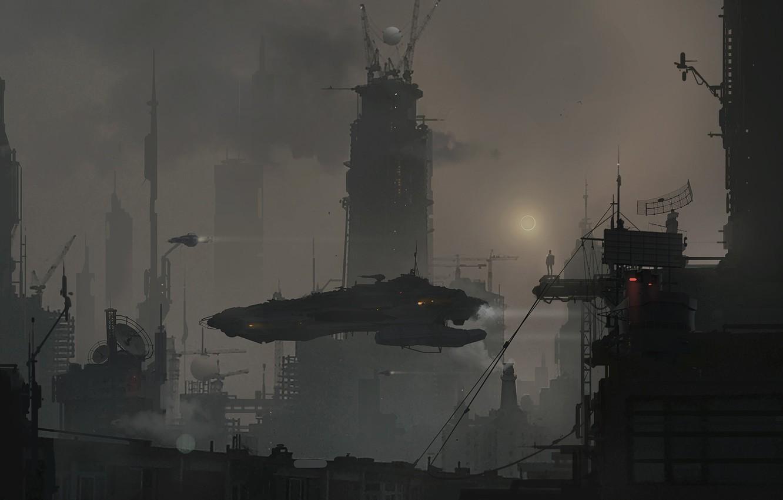 Фото обои Город, Будущее, Здания, City, Art, Beijing, Фантастика, Пекин, Science Fiction, Bei Jing, Beijing 2070