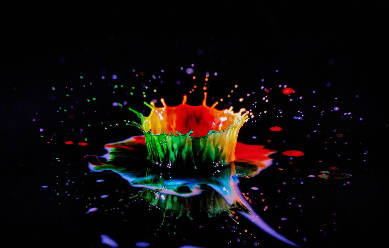 Фото обои брызги, всплеск, жидкость, черный фон, liquid, splash, black background, игра цвета, color play