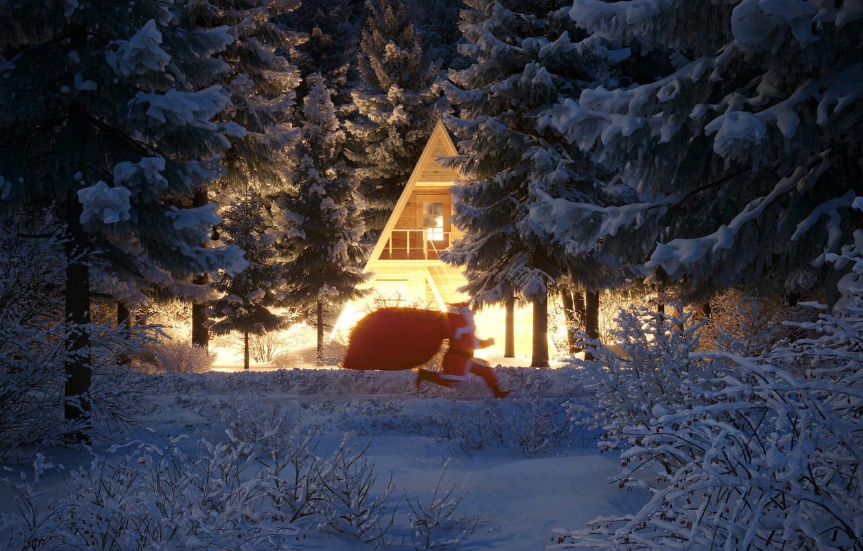 Фото обои зима, снег, деревья, дом, Рождество, Новый год, Дед Мороз, бежит, кусты, праздники, мешок с подарками