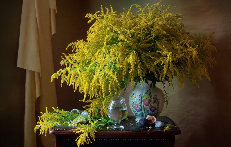 Фото обои цветы, фрукт, ваза, инжир, золотарник, Мила Миронова
