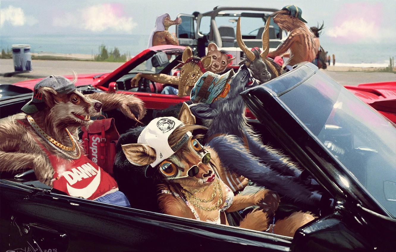 Фото обои Машина, Волк, Car, Fantasy, Животные, Арт, Art, Фантастика, Аллигатор, Fury, Тапир, Барсук, by Kaloyan Stoyanov, ...