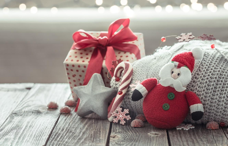 Фото обои украшения, lights, Рождество, подарки, Новый год, christmas, wood, винтаж, bokeh, decoration, gift box