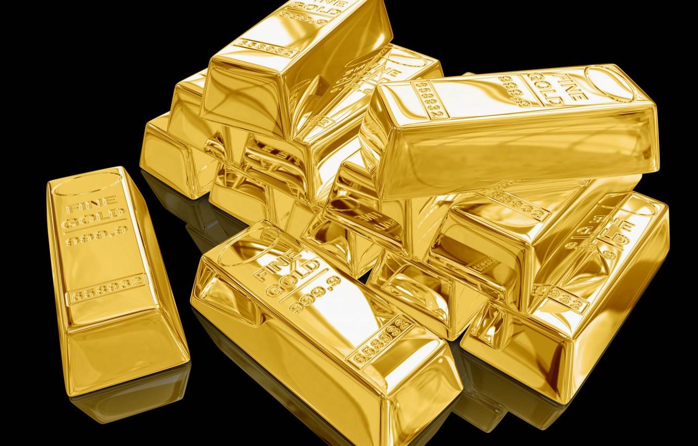 Фото обои золото, деньги, слитки