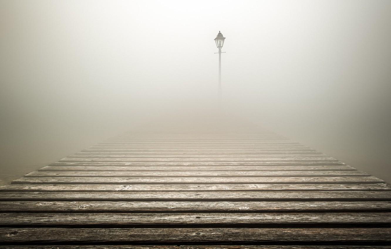 Фото обои туман, фонарь, fog, lantern, настил, flooring, Luca Rebustini