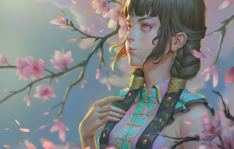 Фото обои ветер, весна, сакура, арт, Naranbaatar Ganbold, Maral Portrait