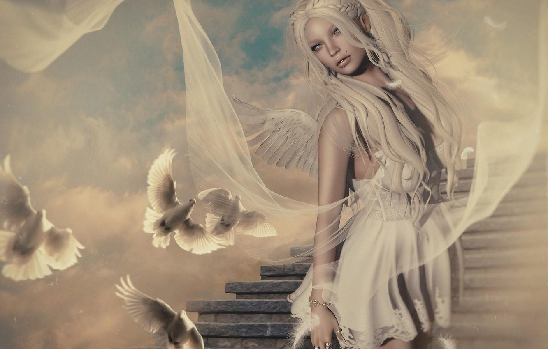Фото обои девушка, украшения, красота, ангел, лестница, girl, beauty, angel, fantasy art, stairs, jewelry, туника, tunic, фэнтези …