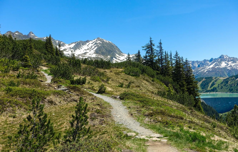 Фото обои деревья, горы, вершины, склон, Альпы
