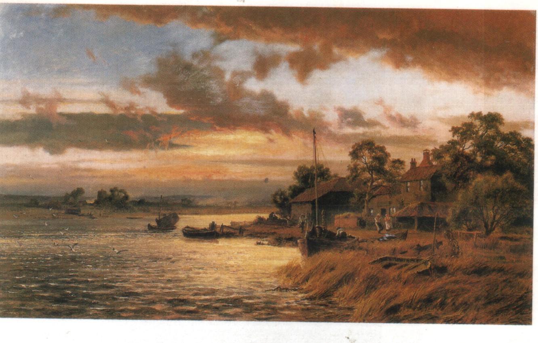 Фото обои облака, река, люди, лодка, чайки, GALLON