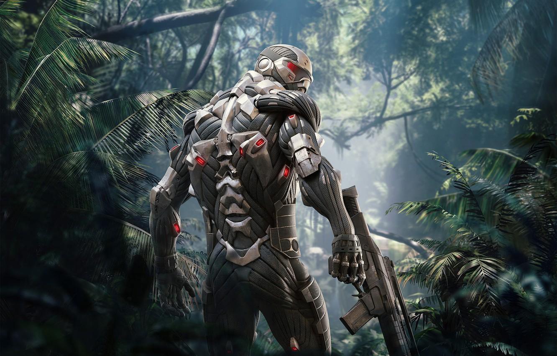 Фото обои Взгляд, Деревья, Солдат, Оружие, Crysis, Джунгли, Electronic Arts, Remastered, Crysis Remastered, Нанокостюм, Crysis: Remastered