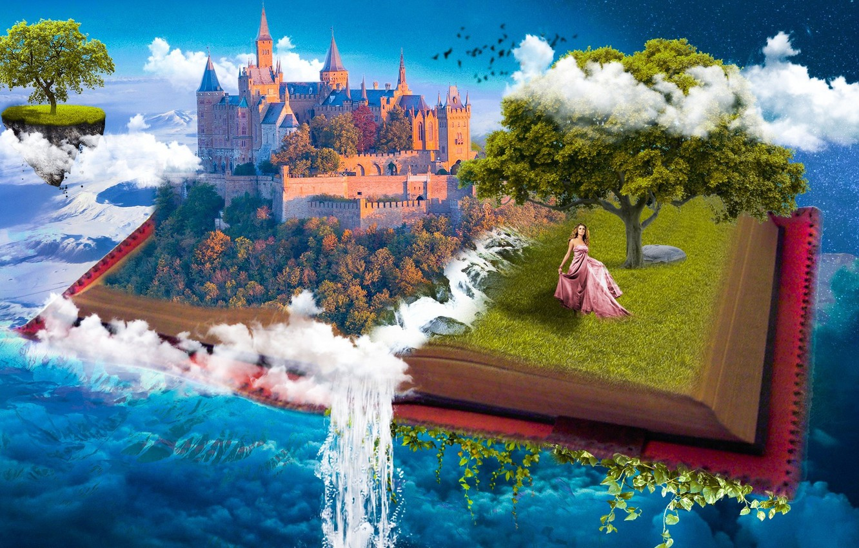 Фото обои небо, вода, девушка, облака, замок, фантазия, дерево, коллаж, вселенная, небеса, рай, водопад, сказка, фэнтези, арт, …