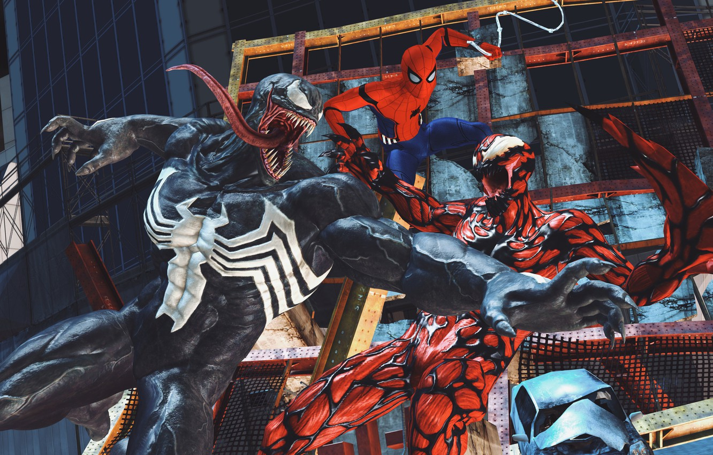 Фото обои Art, Marvel, Comics, Venom, Carnage, Spider Man, Fight