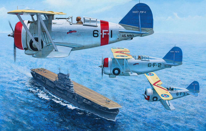 Фото обои art, airplane, aviation, f3f