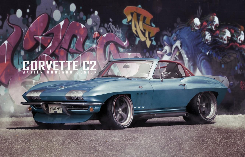 Фото обои Авто, Corvette, Ретро, Машина, Граффити, Transport & Vehicles, Javier Oquendo, by Javier Oquendo, Corvette C2 ...