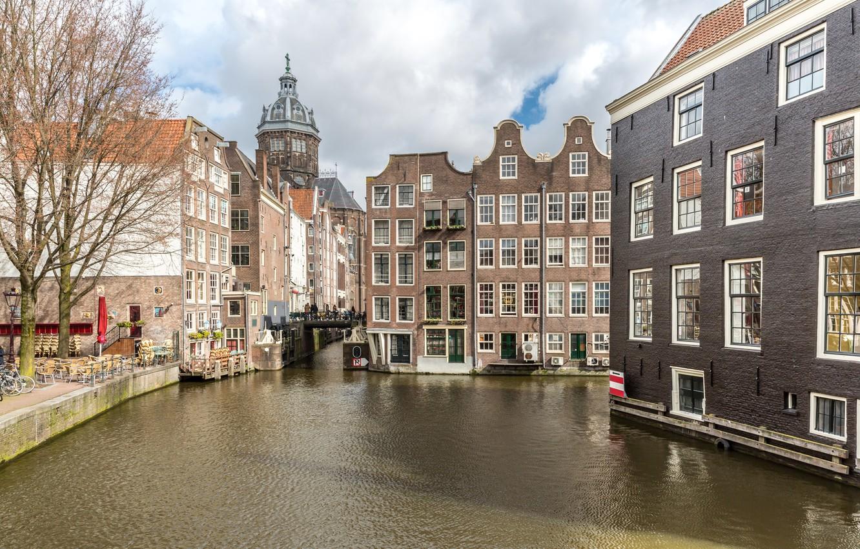 Фото обои city, город, река, Амстердам, panorama, Amsterdam, Голландия, Netherlands, cityscape, Canal
