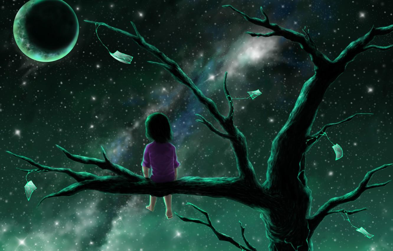 Фото обои ночь, одиночество, безысходность, полнолуние, малышка, тоска, на ветке, млечный Путь, корявое дерево