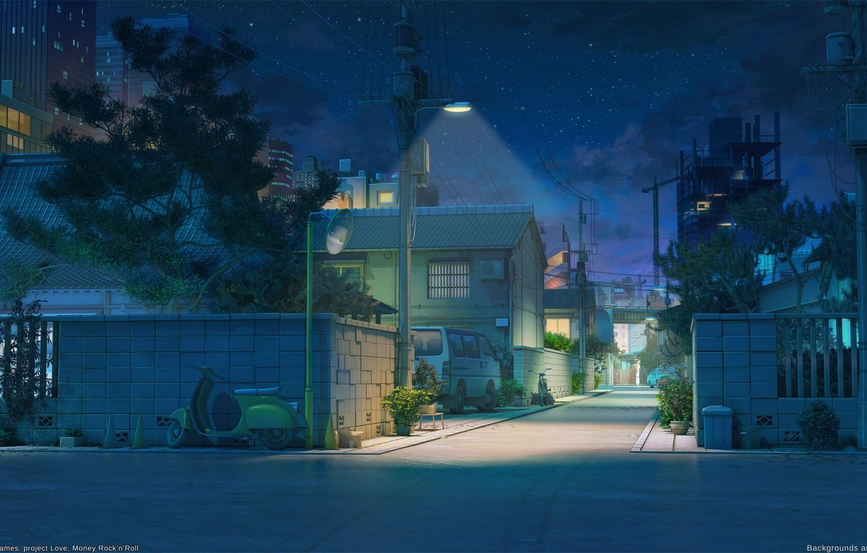 Обои фонари, забор, ночь, улица. Города foto 15