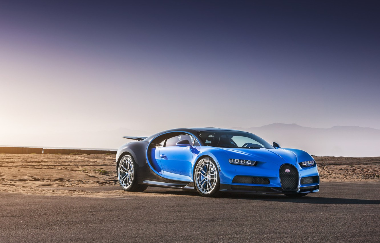 Фото обои Bugatti, Blue, Black, Vossen, VAG, Chiron