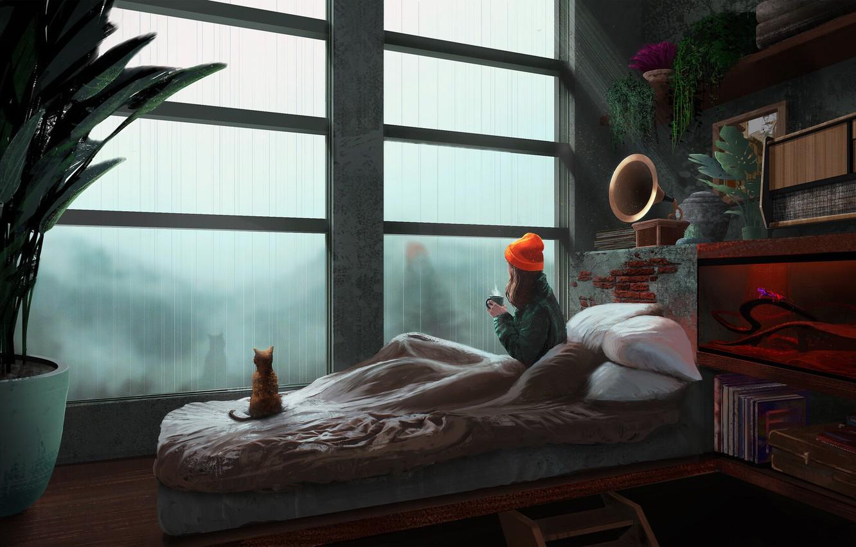 Фото обои грусть, котенок, книги, подушки, девочка, ливень, в комнате, карантин, полки, у окна, грамафон, фикус, красная …