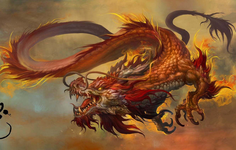 Фото обои Fantasy, Dragon, Art, Russell Dongjun Lu, by Russell Dongjun Lu, Chinese Dragon