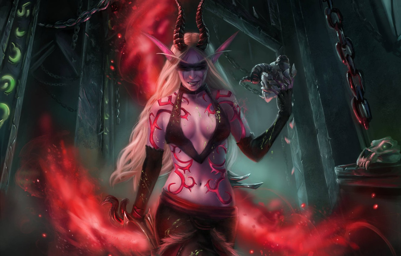 Фото обои девушка, арт, WOW, эльфийка, demon hunter, охотник на демонов, World Of Warcraft