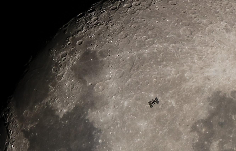 Фото обои Луна, Moon, МКС, ISS, кратеры, craters, Море Спокойствия, Derek Demeter, Sea of Tranquility