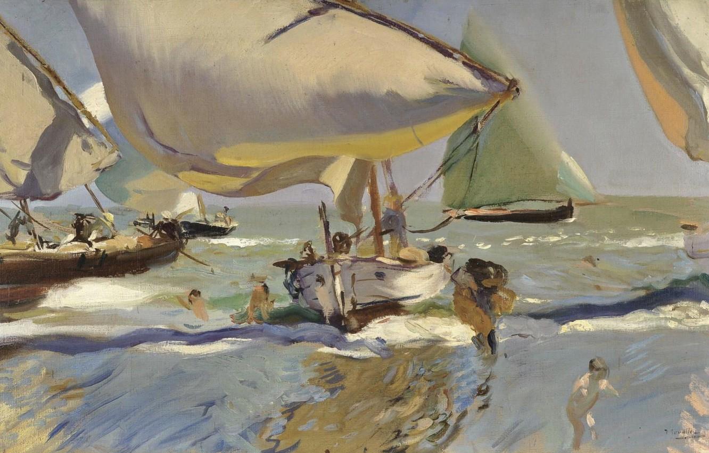 Обои жанровая, парус, Три Паруса, лодка, женщины, Хоакин Соролья, морской пейзаж, картина. Разное foto 10