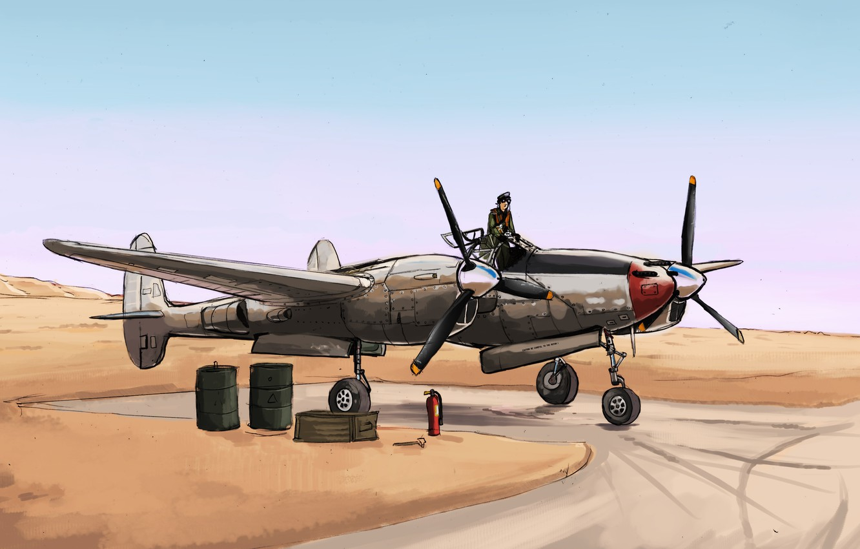 Фото обои пустыня, истребитель, арт, пилот, Lockheed, USAF, P-38 Lightning