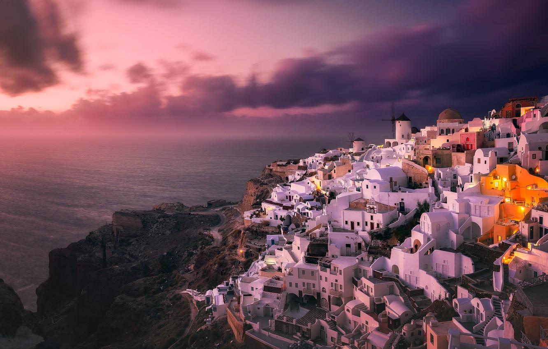 Фото обои море, пейзаж, закат, природа, город, скалы, остров, дома, Санторини, Греция, Ойя
