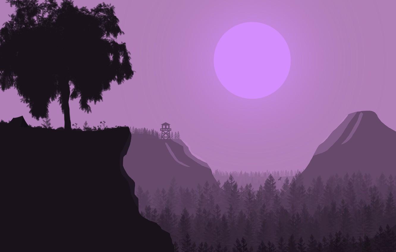 Фото обои лес, деревья, горы, рассвет, башня, утро, поход, привал, ранок
