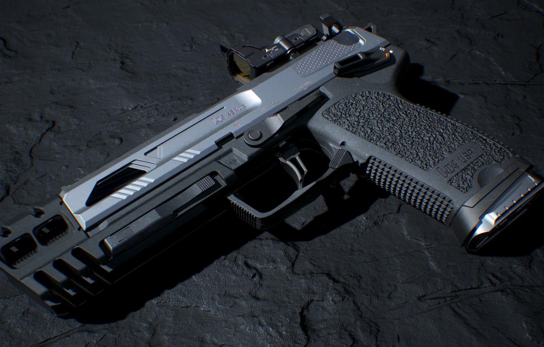Фото обои рендеринг, пистолет, Оружие, gun, pistol, weapon, render, рендер, Тактический, 3d art, Хеклер Кох, HK USP …