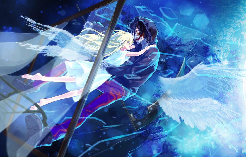 Фото обои девушка, оружие, кровь, аниме, рамка, ангелы, пара, коса, парень, Ангел кровопролития, Satsuriku no Tenshi