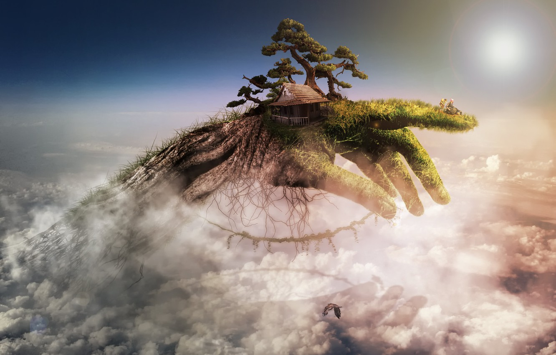 Фото обои house, tree, composite, Handscape