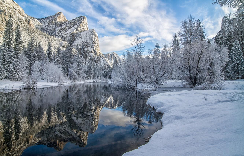 Фото обои зима, снег, деревья, горы, отражение, река, Калифорния, California, Yosemite Valley, Yosemite National Park, Сьерра-Невада, Долина …